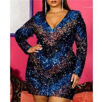 Fashion V-Ausschnitt Kleidung für Frauen Sexy Langarm-Verein-Kleid Plus Size Damen Designer Pailletten-Kleider