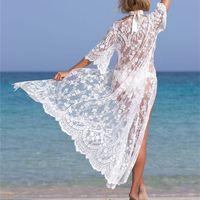 المرأة ملابس النساء 2021 طويل سترة شاطئ ارتداء التستر النساء الأبيض قفطان اللباس تونك الصيف الدانتيل pareo بيكيني التستر ملابس السباحة مثير رداء مثير