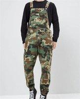 İnce Erkek Uzun Pantolon Tasarımcı Baskılı Kot Tulumlar Kamuflaj Denim Erkek Tulum Moda