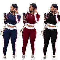 Femmes Sport Style de jeux Vêtements pour femmes Casual Sexy Stitching actifs de sport Costumes Mode Deux pièces Ensembles femmes manches longues T-shirts + Pantalons