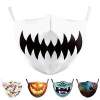 Maschera per bocca Stampa protettiva Prevenire adulti riutilizzabili maschere di halloween copertura viso facciale lavabile regolabile zucca polvere polvere