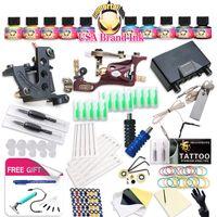 Top Freies Schiff Komplette Tattoo Kit Rotary Tattoo Maschinenspulen Machine heiße Verkäufe Dragonhawk Netzteil 10 Farben USA Tintensatz