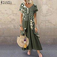 Vestidos de festa verão casual maxi sundress zanzea vintage manga curta vestido mulheres impresso camisa longa vestido feminino túnica roupão