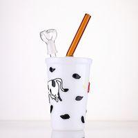 """tasse de lait tube de verre de forme bêcher bong pipes recycler dab plate-forme double filtre couche 9"""" bong d'eau des conduites d'eau en verre plate-forme pétrolière"""