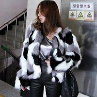 겨울 새로운 모조 모피 재킷 코트 빅 사이즈 여성 느슨한 라운드 넥 짧은 여성 혼합 색상의 코트 사이즈 XS-6X 겉옷 7F1373