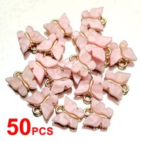 Flatfoosie 50Pcs / set Butterfly gioielli acrilico gioielli di moda accessori dell'oro di fascino di colore per la fabbricazione fai da te orecchini collane T200808