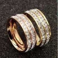 2020 acier inoxydable bijoux incrustés femmes anneau de zircon seule rangée et double rangée rose bague en or deux femme bijoux et bagues homme avec boîte