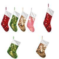 Sequin Christmas Socks Colorful Xrmas Decorations Gift Bag For Men and Women Christmas Bag Pendant IIA525