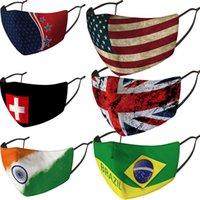 Milli Bayrak Yüz Toz geçirmez Güneş Koruma Bayrak Basım Maskesi Birleşik Devletleri Birleşik Krallık Bayraklar Yüz Maskeleri OWC1335 Maske