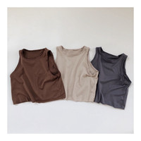 Hx Fashions Little Girls Boys Coréen Style Coton Qualité Qualité Unie T-shirts Vierge Pure Qualité Enfants Garçons Tops Unisexe Kids Thirts