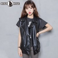 Moda Motociclista Genuine Leather Vest Women Casual Loose Fit Sheepskin Gilet Steetwear Top Outwear senza maniche Giacca