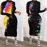 Clothing Womens Designer Midi Dresses Graffiti Printing Long Sleeve Crew Neck Skinny Dresses Casual Streetwear Ladies