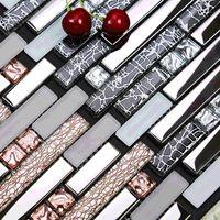 Galwanizacja srebrna szklana mozaika kuchnia backsplash ściana płytki EGMT006 matowa róża złota różowa szklana mozaika łazienka