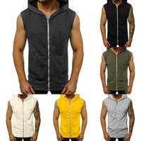 Beiläufige Mens Sleeveless bequeme Weste Sport ZipHoodie Up-Weste-Hemd Mann Bodybuilding Stringers Tanktops Workout Singlet Top MX200815