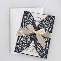 10pcs elegante corte láser Invitación de boda Tarjetas Tarjeta de felicitación Personalizar negocio con las tarjetas de RSVP de la decoración de Año Nuevo Partido 18x12.5Cm