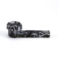 공장 직접 판매 이전 스타일 아름다운 패턴 파이프 발광 유리 그릇 파이프 실리콘 관 환경 친화적 인 실리콘