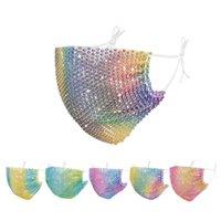 다이아몬드 파티 블링 패션 다채로운 메쉬 마스크 석 그리드 넷 세척 섹시한 중공 할로윈 마스크 마스크 마스크 마스크