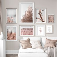 Розового вейник цветок завод стена искусство Картина Аннотация Красивый холст картина Home Decor Фреска Плакат распечатки для гостиной