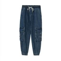 Erkek Streetwear Hip Hop Vintage Moda Gevşek Jean Pantolon Erkekler Rasgele Elastik Bel Ayak bileği uzunlukta Jeans Kargo Denim Pantolon