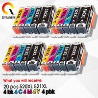 20pcs tam Mürekkep Kartuşları PGI Canon PIXMA iP3600 4600 4700 MP 540 550 560 620 630 640 980 MX860 Yazıcı çipi için 520 CLI 521