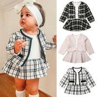 حار Luxurys الأميرة البدلة سترة + تنورة اثنين من قطعة بدلة المصممين أطفال ملابس الطفل كم طويل البلوزات بوتيك ملابس الأطفال D82802