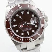 Автоматические 2813 Движение 40 мм Керамическая Безель Браун Часы Часы из нержавеющей стали Голубой Жареный Циферблат Glide Lock CLASP 116610 Мужские наручные часы