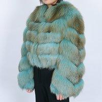 2020 FW ins sıcak satış Gerçek Patchwork Fox kürk kadınların kısa dar kesim görünüyor İsveç FHL nakliye pälsrock