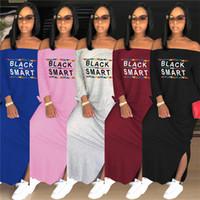 패션 여성 롱 드레스 블랙 스마트 편지 긴 소매 오프 숄더 맥시 드레스 가을 원피스 스커트 가을 캐주얼 분할 드레스 의상