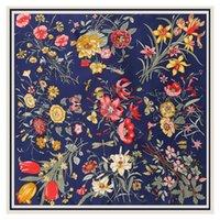 Lesda Pure Seidenschal Damen Große Tücher Blume Design Quadratische Schals Echarpes Foulards Femme Wrap Bandanas 130 * 130 cm