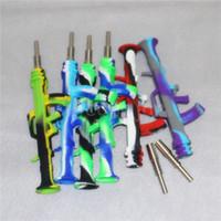 30pcs Silicone Nectar Collector com 14 milímetros Dica Titanium portátil Mini néctar Collector vidro Dab Pipes palha fumadores Silicone Tubo