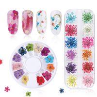 Nail Art Süslemeleri Kurutulmuş Çiçekler Dekorasyon Doğal Çiçek Sticker 3D Kuru Güzellik Çıkartmaları Takı UV Jel Lehçe Manikür