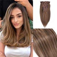 Клип Premium Quality человеческих волос в расширениях волоса Основные # 4 цветов смешиваются с # 27 Выметанием цвета клипа на наращивании волос 120га
