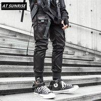 2020 새로운 리본 카고 바지 남성 블랙 포켓 스트리트 하라주쿠 Techwear 바지 힙합 바지 하렘 조깅 스웨트 팬츠 블랙