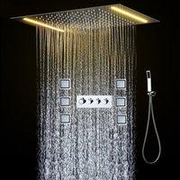 Modern Bathroom LED doccia a pioggia testa Sistema 360x500MM soffitto precipitazioni doccia con miscelatore termostatico Jets Douche Accessori rubinetto