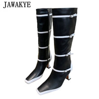 Дизайнер Mixed Color Knee High Женщина Boots площадь Toe SIIM Пряжка платья партии Botas натуральной кожи Strange каблук Подиум обувь