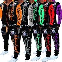 Марка Мужчины костюмы 2 шт Топы и брюки мужские костюмы Sweat Set Letter Print Plus Размер Jogger Наборы для мужчин Одежда
