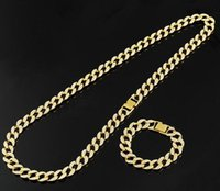 Hot! Hip Hop Jewelry Sets Full Cubic Zirconia Miami Cuban Chain Necklace & Bracelets Bling Bling Iced Out Rapper Rocker HipHoph