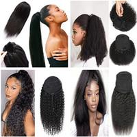 Mongol cheveux humains Afro Ponytail Ponytail de couleur à cordonnet noir naturel crépus bouclés crépus pince droit dans les extensions de cheveux pour les femmes
