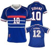 1998 레트로 축구 유니폼 # 10 Zidane # 12 헨리 홈 탑 타이 사용자 정의 이름 Zidane 헨리 축구 유니폼 축구 셔츠