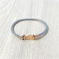 Vintage gedraaid kabel draad opening armband titanium stalen geometrische polsbandje voor vrouwen mode bedelarmband sieraden cadeau met doos