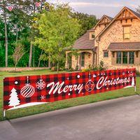 Joyeux Noël en plein air Décorations de Noël Bannière pour la maison Cristmas ornements suspendus Drapeau de Noël Navidad Noel Bonne Année