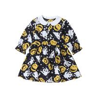 Ins Bebek Kız Cadılar Bayramı Elbise Çocuk Kabak Hayalet Uzun Kollu Parti Kostüm Sonbahar
