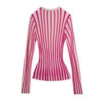 Twotwinstyle Casual Striped Wemon Sweaters V Neck Manga Longa Túnica Bateu Cor Sweater para Feminina Moda 2020 Primavera Roupa Novo CX200814