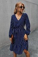 Abito da donna autunno elegante manica solitaria solitaria con scollo a V casual A-Line Midi abito vintage a strisce stringati lace-up per femme abiti da festa 203050