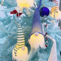 Árvore de Natal de suspensão Lighted boneca de Santa Bola Lantejoula Plush Doll com LED Light Ornamentos Partido Home Decoração YYA354