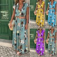 Boho de femmes encolure en V Casual longue Maxi Soirée cocktail Robe de plage Robe Ceinture Collier de poche Jupes longues Robe sexy femme