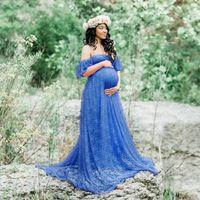 Photo Shoot için şık Dantel Hamile Fotoğrafçılık Uzun Maxi Elbiseler Hamile Kadın Giyim fırfır Gebelik Elbise