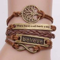 Vendita calda regolabile Albero Handmade For Life crediate gioielli braccialetto a più strati Wristband intrecciato braccialetto retrò