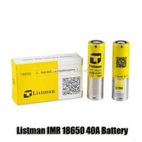 100% original listman imr 18650 3000mAh 40A 3.7V bateria recarregável de alto dreno para 510 thread box mod