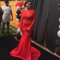 아플리케와 아프리카 레드 롱 슬리브 레이스 공주 이브닝 드레스 (2021)는 기차 정장 댄스 파티 파티 드레스 스윕